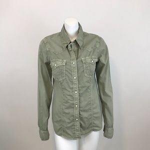 True Religion Green Western Pearl Snap Shirt L